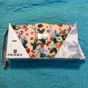 NWT MUNDI floral snap front & zip around wallet